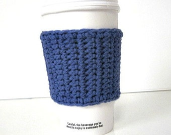 Dark Blue Travel Coffee Cup Cozy, Tea Cozy, Coffee Accessories, Coffee Gift, Hostess Gift, Coffee Lovers Gift, Teachers Gift