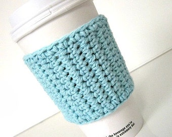 Travel Coffee Cup Cozy in Light Aqua,  Coffee Accessories, Coffee Gift, Cup Cozy, Mug Cosy, Tea Cozy, Teachers Gift, To go cup cozy