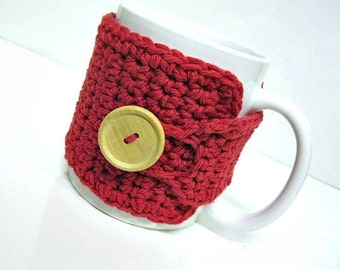 Coffee Mug Cozy in Country Red, Coffee Mug Cozy, Tea Cozy, Coffee Accessories, Teachers Gifts, Coffee Cup Cozy, Coffee Lover Gift