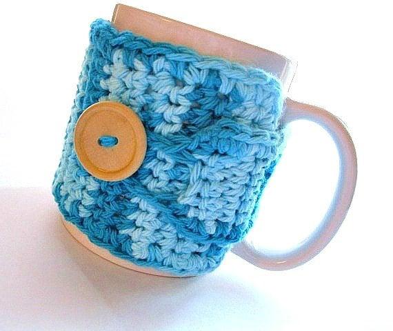 Handmade Coffee Mug Cozy Crocheted in Aqua Blue by MontanaDaisyGirl on Etsy