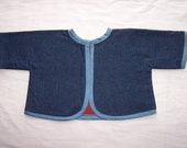 Newborn denim and flannel jacket for carseat or stroller