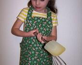 Child's apron Candy canes snowflakes Christmas toddler child children Montessori reversible elastic neck Velcro closure