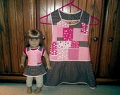 """Matching aprons for girl and 18"""" Doll - Valentine's Day pink and brown print"""