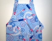 Fireworks apron Red white and blue Independence Day 4th of July child's apron toddler apron patriotic apron READY TO SHIP
