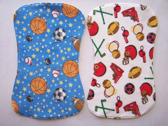 Burp cloth set in sports theme