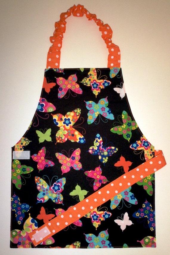 Butterfly apron Reversible apron Polka dot apron Child apron