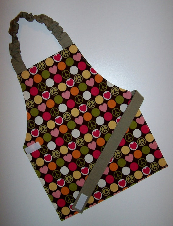 Reversible apron peace signs hearts polka dots khaki Montessori child apron girl apron