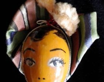 Hand Painted Wooden Doll Face