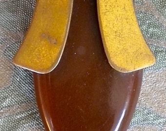 Brass and Brown Bakelite Dress Clip