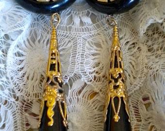 1960's Black and Gold Filigree Earrings