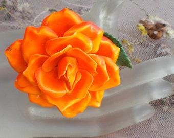 1940's Orange Rose Pin
