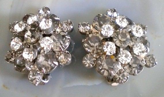 1950's Silver Rhinestone Cluster Earrings