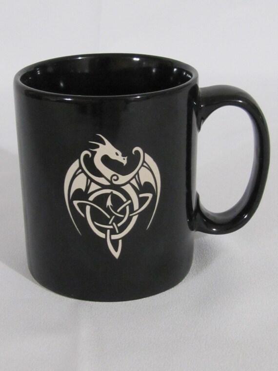 ceramic coffee cup mug celtic dragon design by