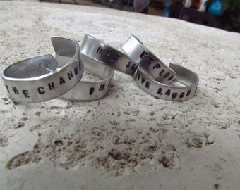 Personalized - 8mm Hand Stamped Aluminum Ring - Custom Stamping