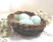 Needlefelted wool bird nest with blue eggs pincushion or shabby chic nature decoration