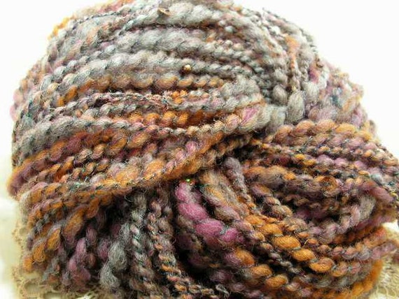 NOW on SALE Thick and Thin handspun beaded and extra bulky homegrown wool art yarn with silk twist 73 yds Avalon