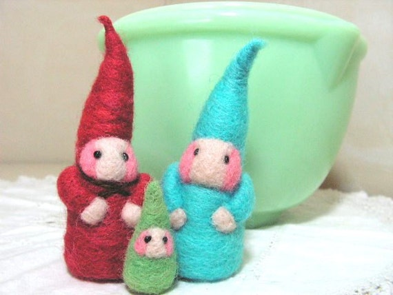 Gnome doll family needlefelted bright colors, toy or fun decor for children set of 3 dolls