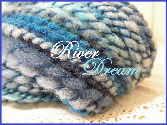 Handspun homegrown wool art yarn 44 yards extra bulky River Dream blue colorway