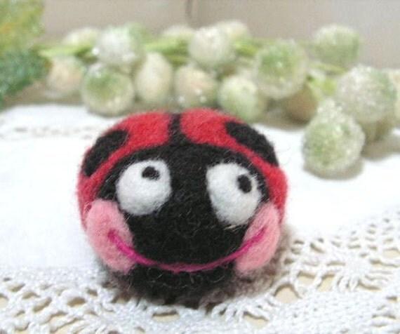 RESERVED listing for Jennifer Morin needlefelted ladybug