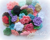 10 Crochet flowers- various colours