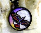 Raven Moon Black Metal Necklace