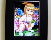 "Fantasy - ""Fairy Child""  -  8""x10""  PRINT  with  black 11"" x 14"" MAT"
