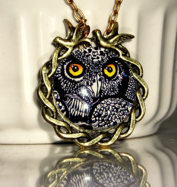 "Celtic, Gothic, Nature, Wildlife - ""Forest Owl"" - polished brass pendant and chain, wearable miniature art NECKLACE"