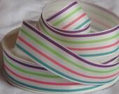 Lollipop Striped Grosgrain ribbon 7/8 inch Rainbow / candy / baby