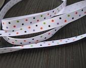 3 yards of Halloween Polka dots orange, green and purple on white Grosgrain Ribbon 3/8 inch