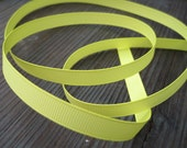 3 yards of Neon Yellow / Pistacio Grosgrain Ribbon 3/8 inch