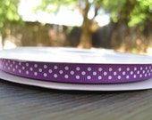 3 Yards of Purple grosgrain ribbon with white polka dots swiss dots 3/8 inch / great for korkers