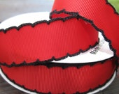 Reserved for Alicia Red moonstitch Grosgrain Ribbon with black edge 7/8 inch