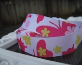 yellow and passion fruit Pink and white butterfly flowers Grosgrain ribbon 7/8 inch width