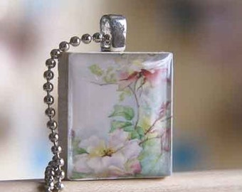 Old Fashioned Rose Scrabble Tile Pendant