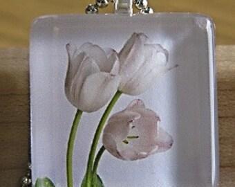 Tulip Photo Glass Tile Pendant