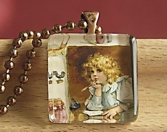 Little School Girl Glass Tile Pendant