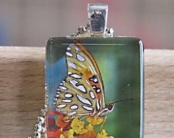 Butterfly Scrabble Size Glass Tile Pendant