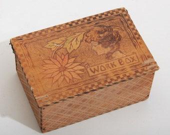 Small Vintage Wood Work Box