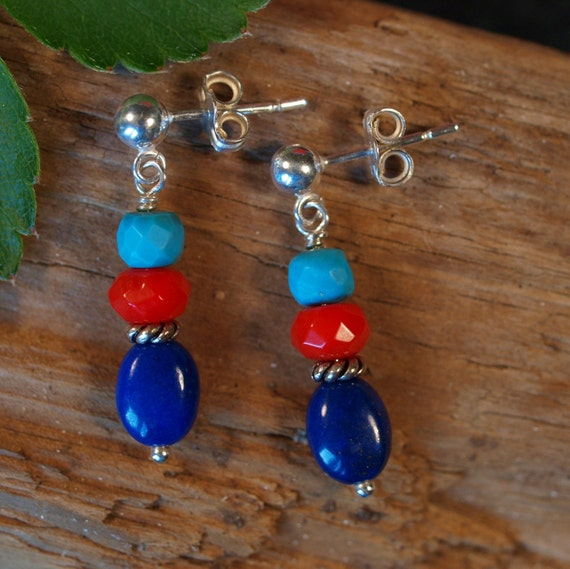 Color Block Post Earrings with Turquoise, Coral, and Lapis