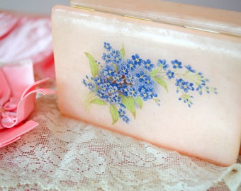 NEW LISTING... vintage pink trinket box with lilac flowers treasure box