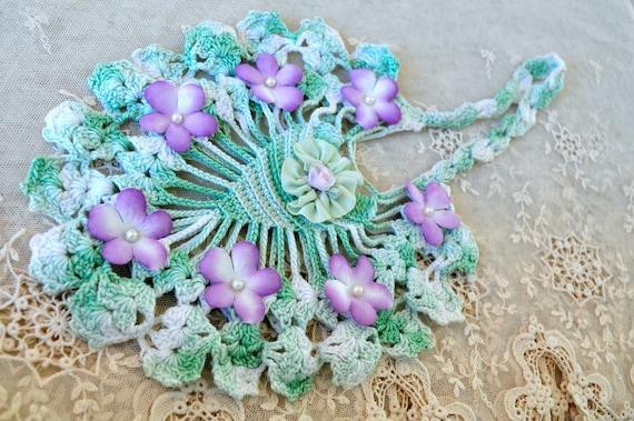 vintage green crochet lace bag with millinery lavender color violets pearls ribbon flower