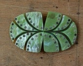 vintage Art Deco buckle / 1930s jewelry / FOREST MINT GREEN
