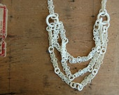 vintage celluloid necklace / 1930s jewelry / TATTED LACE