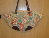 REIKO- Funky  Floral print handbag w/ chocolate leather straps