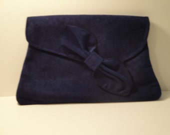 ROXIE- 1920's Asymetric bow flap clutch bag in Navy