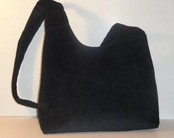 REGINA- Black Corduroy slouch bag