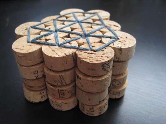 Wine Cork Coasters - Set of Four in Muted Teal and Powder Blue