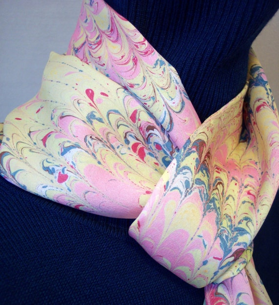 Pink and Yellow Handmarbled Scarf