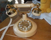 Vintage Victorian Princess Phone in Creamy Tan and Brass On Sale by Retro Daisy Girl