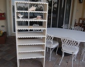Shabby Chic Shelf White Chippy Paint with Beautiful Scalloped edge on Each Shelf Over 5 Feet tall